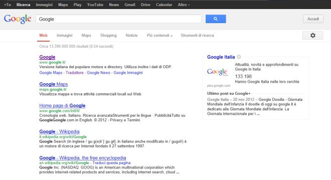 Google nuova interfaccia grafica per la ricerca